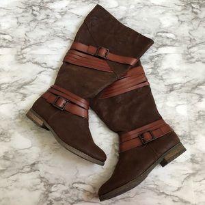 Lane Bryant   Faux Suede Multi Strap Riding Boots
